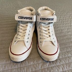 High Top Leather Converse Velcro ONLY WORN ONCE